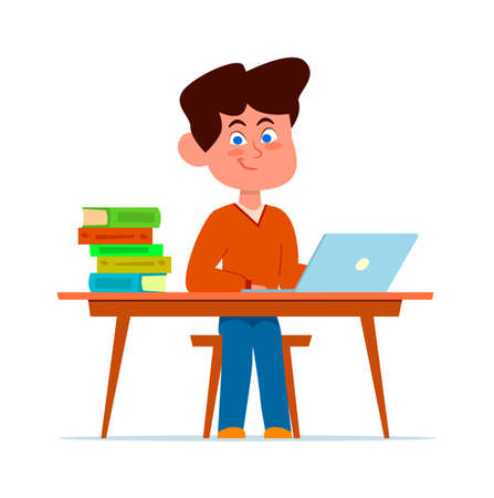 Boy at school desk in classroom. Smart smiling child sitting on chair with books and laptop, happy student in class, studying lessons educational concept flat cartoon vector isolated character Illustration
