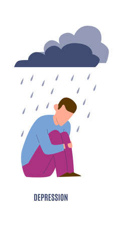 Desression mental disorder. Sad crying alone man under raining clouds, negative emotions before psychotherapy concept, cartoon flat vector isolated illustration Illustration
