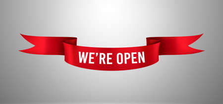 Red ribbon with We re open text. Re-opening poster, welcome information about re-open shop or market. Template design element for opening ceremony. Vector realistic isolated banner 일러스트