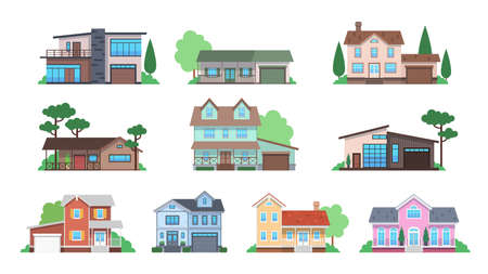 Cottages. Home facades, cottage or suburban townhouse, front view family houses with garage and terrace, architecture real estate modern design flat vector isolated set Illustration