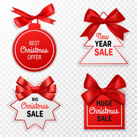 Christmas sale labels. Holidays discount price tags with red bows xmas offer, promotion marketing winter event, signage stickers or coupon vector isolated set on transparent background