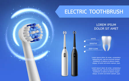 Electric toothbrush. Fresh teeth cleaning with electric black or white toothbrushes product promotion flyer. Mouth hygiene and dental care vector background with copy space Illustration