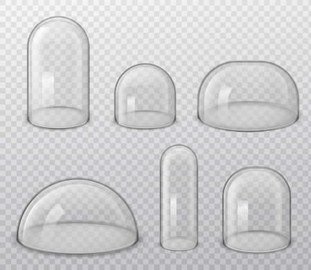 Glass domes. Realistic spherical and hemisphere glossy shape various size, laboratory and exhibition cases, dust cover vector isolated set on transparent background