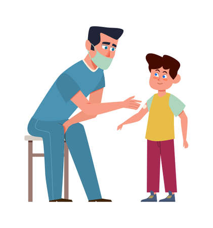 Kids vaccination. Doctor in medical mask and child, children clinic, preventing infections and building immunity, protection from disease vector isolated cartoon medical concept