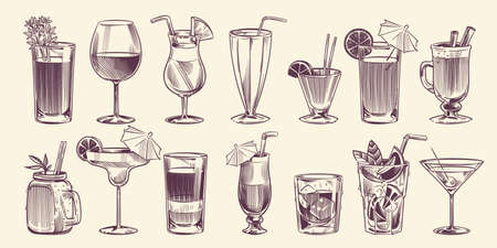 Sketch cocktails. Hand drawn different cocktail set, alcohol drink in glass for party restaurant or cafe menu, cold mojito, tropical pina colada and margarita, engraving style vector isolated set Illustration