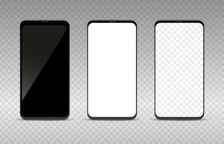 Realistic smartphone mockup set. Empty black white and transparent blank mobile phone template, cellphone display front view collection, digital device screen vector isolated illustration