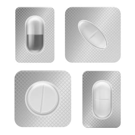 Pill blister pack. Realistic medical tablet individually packed, vitamin capsule in plastic container front view, antibiotic or painkiller pharmacy drugs packaging vector isolated template