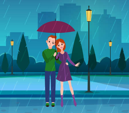 Couple in love. Romantic young people in love under umbrella in park, rainy weather, husband and wife characters hugging in street on evening city landscape flat cartoon vector concept