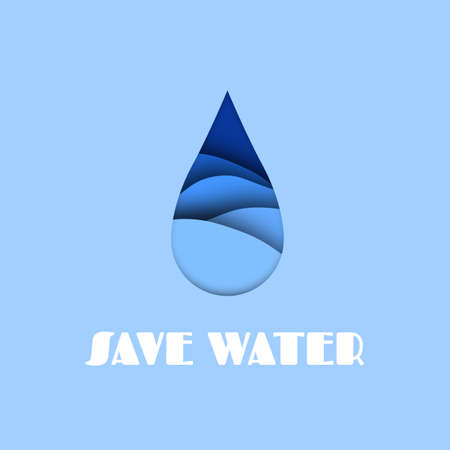 Water drop. Aqua paper cut effect, save sea and ocean concept, abstract falling droplet of blue liquid with white text vector illustration in carving style