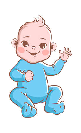 Cute baby boy. Infant blond smiling toddler in blue clothes sitting and waving his hand. Happy newborn child vector illustration isolated on white background