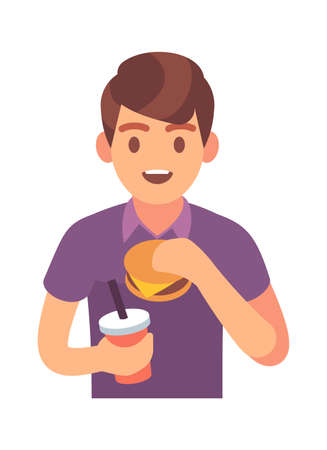 Man eating fast food. Hungry male character with tasty hamburger and soda drink, lunch time with unhealthy snack promotion cafe and restaurant, flat vector isolated trendy illustration Illustration