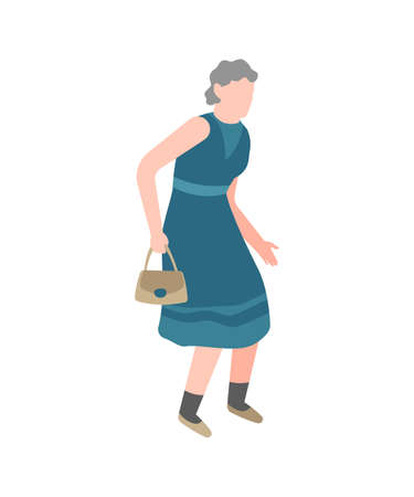 Elderly woman walking. Happy old senior with little bag walks in park alone, healthy leisure lifestyle for pensioner. Flat simple vector cartoon isolated illustration Illustration