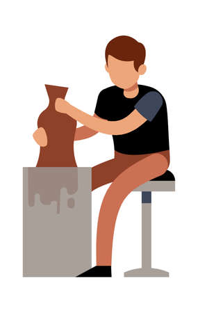 Man making pots with clay. Male character handcrafted ceramic vase in pottery studio or workshop, talent sculptor with artwork creative profession and hobby vector flat cartoon isolated illustration