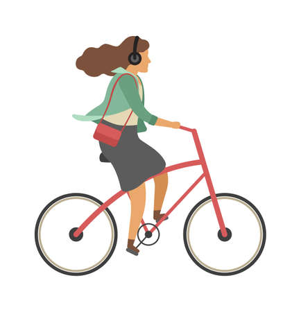 Woman riding on bicycle. Simple character cyclist girl rides on bike and listen music in headphones. Outdoor activities or walking in park, healthy lifestyle concept. Flat vector cartoon illustration Ilustracja