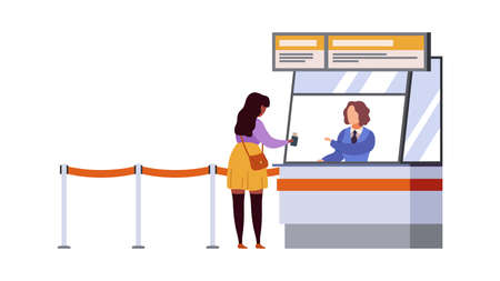 Woman travel registration airport terminal. Air flight check ticket and documents, passenger registers, waiting plane departure traveller with luggage modern flat cartoon vector concept Illustration