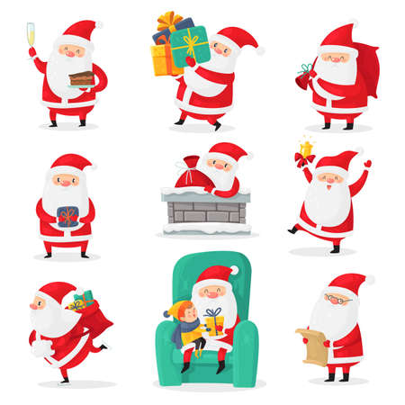 Cute santa. Christmas santa clauses with funny emotions and new year gifts for children, festive happy xmas holiday characters, flat vector cartoon isolated set