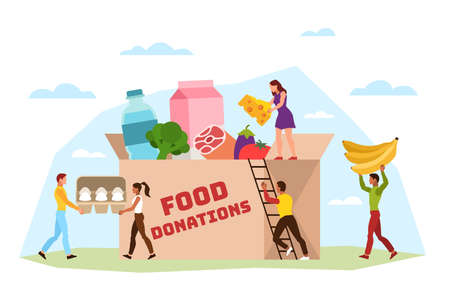 Food donation. Tiny volunteer activist characters filling cardboard box with various products for poor people, support social care, community helping homeless charity vector concept Illustration