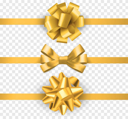 Gold gift bows with ribbons. Realistic horizontal silk yellow ribbon with decorative bow, festive elements decor, gift satin luxury tape vector set isolated on transparent background Illustration