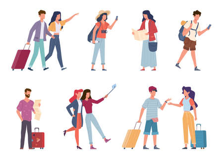 Tourists. Seasonal recreation, travelling people with baggage, backpacks, bags and suitcases, vacation families and couple taking photo, travelers on excursion or in airport vector flat characters