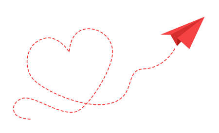 Paper plane with heart path. Flying origami red airplane with contour dotted trace in love form card design, travel or romantic message vector isolated concept