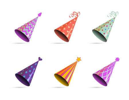Hat for birthday. Bright multicolor carnival festive cone with ribbon and ornament for holiday party, accessories for celebration, vector decoration element isolated on white background