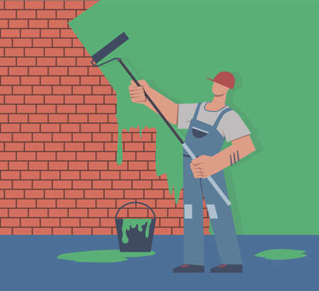 Painter colors wall. Repair in apartment, man in uniform is holding paint roller in hand, professional decorator male character renovate house concept flat vector cartoon isolated illustration