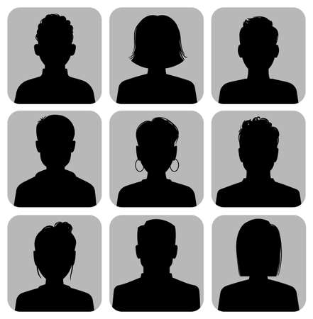 Silhouette heads. Male and female head silhouettes internet avatar, black web icons gray square background, woman and man social media anonymous portrait, flat vector isolated collection Illustration