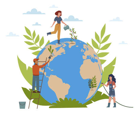 Earth Day. People care about ecology of planet, plant trees, water flowers, women and man with globe, protect and save world modern concept flat vector cartoon isolated illustration Illustration