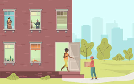 Home delivery. Courier and woman handing over parcel at home from man with box, house facade with windows, people look out of apartment, shopping service concept cartoon flat vector illustration
