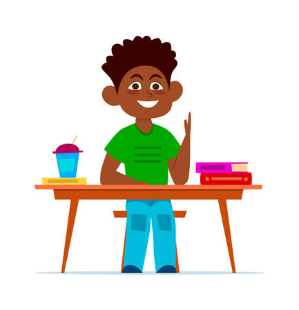 Multiethnic boy at school desk in classroom, smiling child sitting on chair with books, happy african student in class, studying lessons educational concept flat cartoon vector isolated character