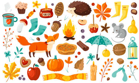Autumn elements. Yellow falling leaves, plants, animals and food, harvest festival and thanksgiving day attributes for card or poster, flat vector cartoon isolated set