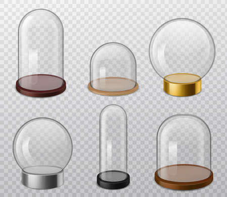 Glass domes. Realistic glossy round transparent dome with tray, food storage container, empty sphere for presentation product laboratory and exhibition cases 3d vector set on transparent background