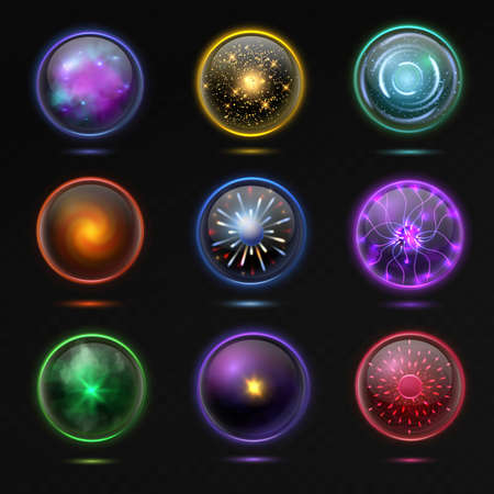 Magical crystal orbs. Glowing energy sphere and shiny lightning, spiritual round magnificent glass globe occult prediction future, magic balls 3d vector isolated set