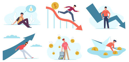 Financial problems. Depressed man with unpaid loan debt, economic crisis, business bankruptcy, company startup collapse, people and falling arrow. Money problem concept vector flat characters set