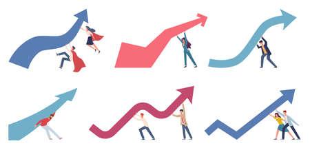 Crisis management. Businessmen change business direction pushing upwards financial chart arrow, market panic economic risks, economy strategy to stop economic crisis vector flat cartoon characters set