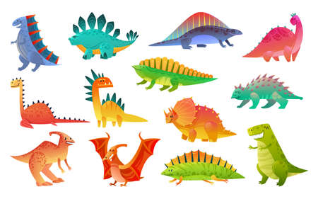 Cute cartoon dinosaur. Funny dinosaurs wild animal dragon and nature reptile, childish bright prehistoric collection, vector flat nursery cartoon isolated illustration