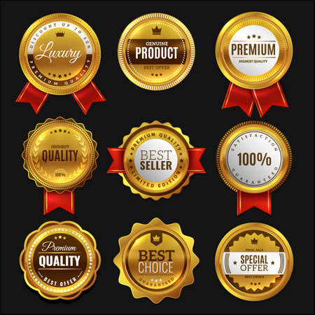 Gold sale badges. Premium golden emblem, luxury genuine and highest quality product badge, best seller offer, round promotion decoration element with red ribbon realistic vector set