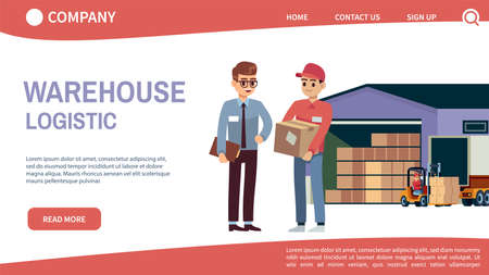 Landing page concept with theme warehouse and logistics. Logistic transportation and forklift, truck delivery loader with boxes, warehouse workers mobile app or web banner flat cartoon characters