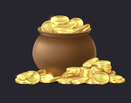 Pot of gold coins. Ceramic brown cauldron full of shiny golden coin, medieval mystery treasures for game luck and success symbol cartoon vector isolated illustration