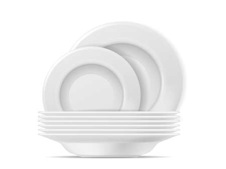 Clean plates. Food white circle plate set. Realistic stacked tableware after washing, kitchenware for home restaurant or cafe, promotion of dishwashing detergent vector 3d isolated illustration