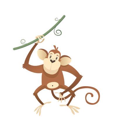 Jungle wild monkey. Colorful beautiful safari