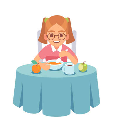 Girl eating dinner or lunch. Smiling toddler sits at table and eats soup with spoon Çizim