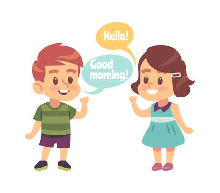 Kids good manners. Happy boy says good morning and smiling girl with hello word speech bubble Vecteurs
