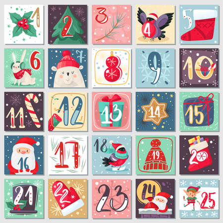 Christmas advent calendar. Winter festive poster with holiday animals