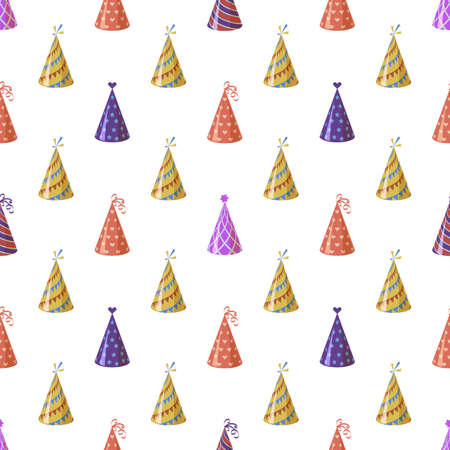 Party caps. Seamless pattern bright multicolor carnival festive cone with ribbon and ornament