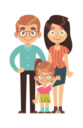 Happy family. Parents with child little girl, mom dad and daughter smile stand and hold hands cartoon character, relationships parenthood concept, flat vector isolated illustration