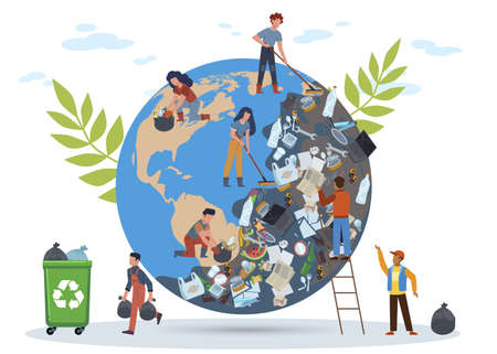 People clean planet. Globe in mountain of garbage from plastic bottles waste dishes, women and man cleanse Earth from pollution protect and save world concept flat vector cartoon isolated illustration