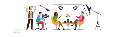 Press interview with cameraman. Operator holds camera, man with microphone and reporter speaks with guest in modern tv studio, online television industry cartoon flat vector characters