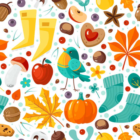 Autumn seamless pattern. Yellow orange leaves, pumpkins and nuts, bright repeated elements fall holidays, creative design textile, wrapping paper, wallpaper vector texture on white background