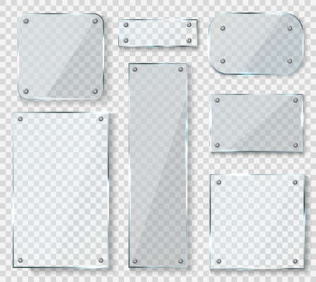 Glass panels with screws. Acrylic empty square banners with glossy glare reflections set, realistic clear wall window with shadows isolated on transparent background, 3d vector mockups collection